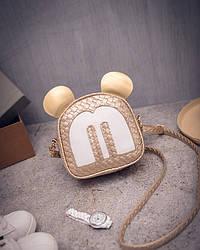 Женская маленькая сумочка Микки Маус с ушками золотистая опт