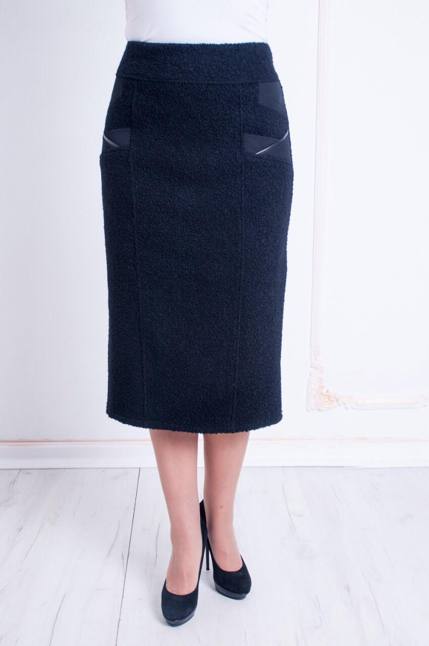 Шерстяная женская юбка из ткани букле черного цвета