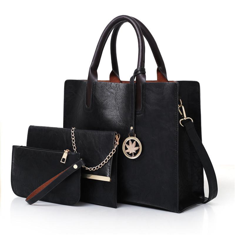 Женская сумка из экокожи набор 3в1 с брелочком черный опт