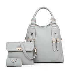 Набор женских сумок 3в1 серый из качественной экокожи с декоративными ремешками