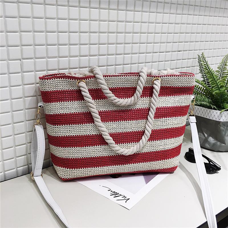 Женская сумка пляжная в красную полоску с ручкой в виде канатной верёвки опт
