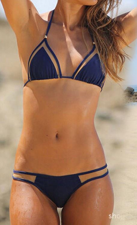 Раздельный женский синий купальник-шторки опт