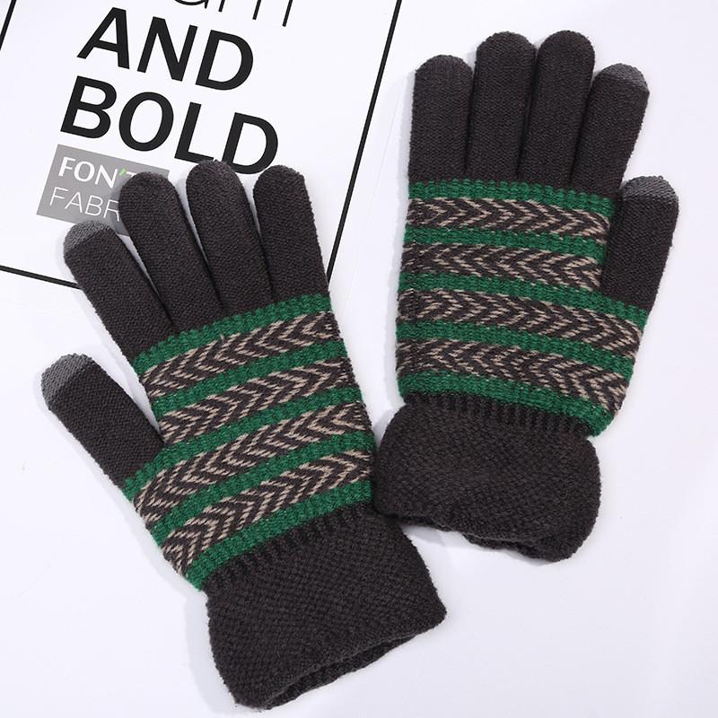 Перчатки зимние  унисекс зеленые в полоску