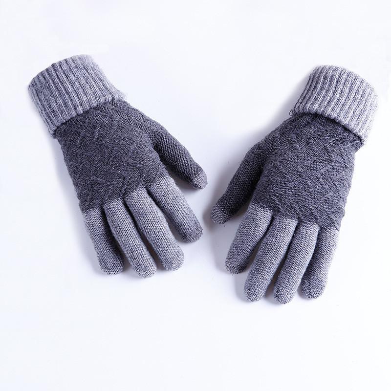 Зимние шерстяные перчатки мужские серые
