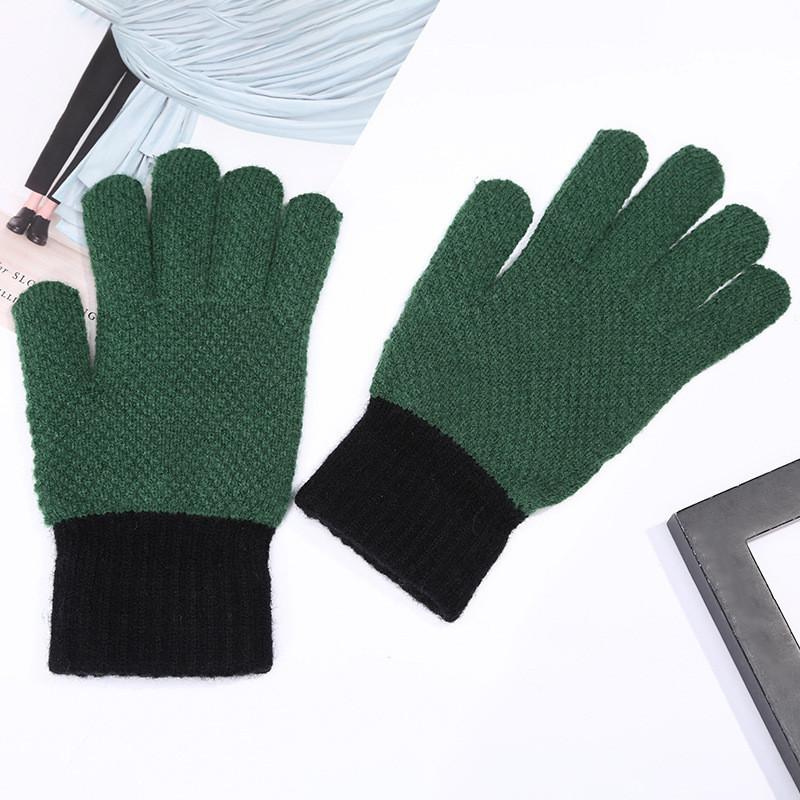 Шерстяные утепленные перчатки для мужчин и женщин унисекс зеленые
