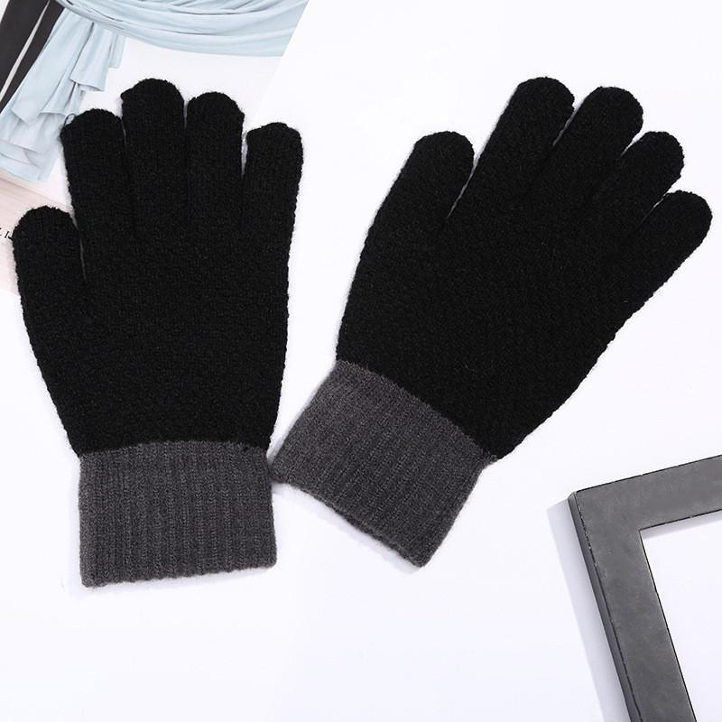 Перчатки зимние шерстяные для мужчин и женщин унисекс черные