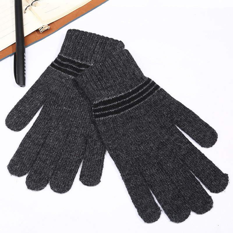 Перчатки унисекс в полоску весна/осень темно-серые