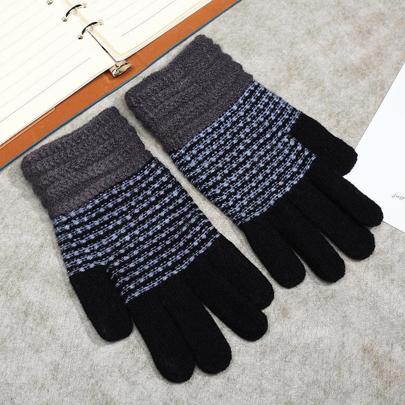 Зимние женские перчатки в полоску черные