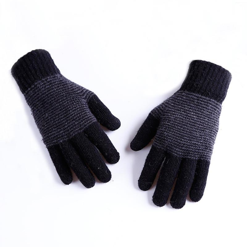 Зимние трикотажные мужские перчатки в полоску черные