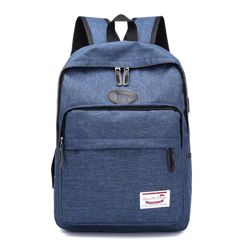 Рюкзак тканевый мужской синий с отделом для зарядки телефона опт