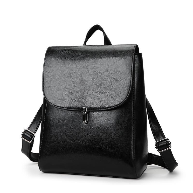 Женская рюкзак-сумка из качественной экокожи черная