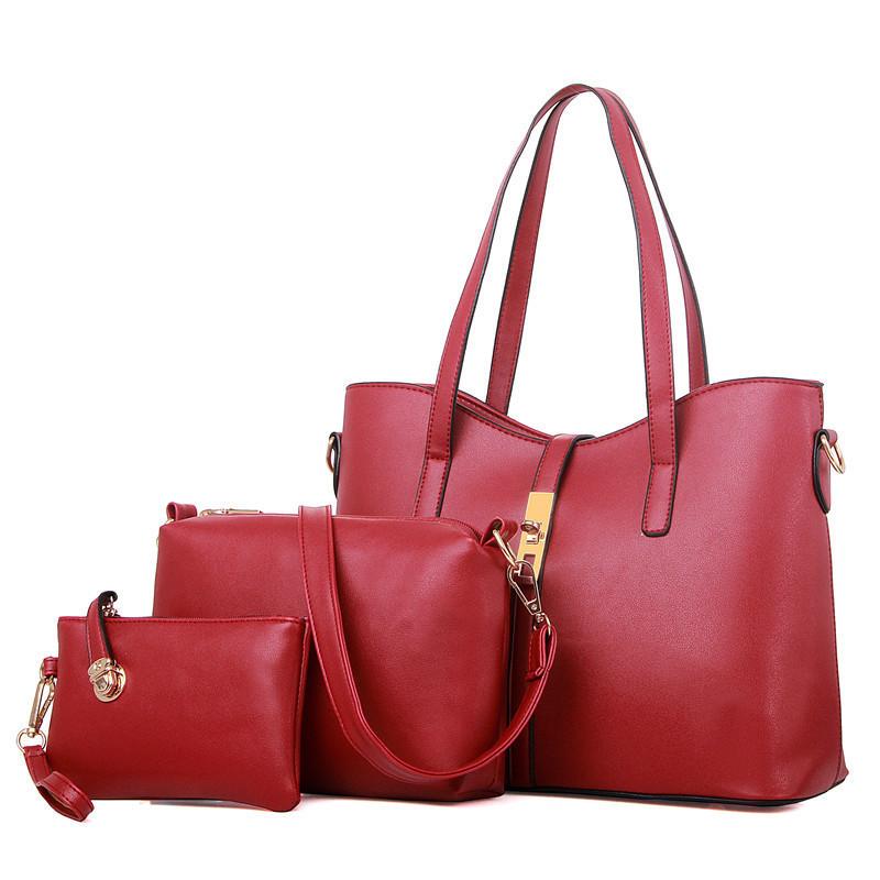 Набор женских сумок 3в1 из экокожи красный
