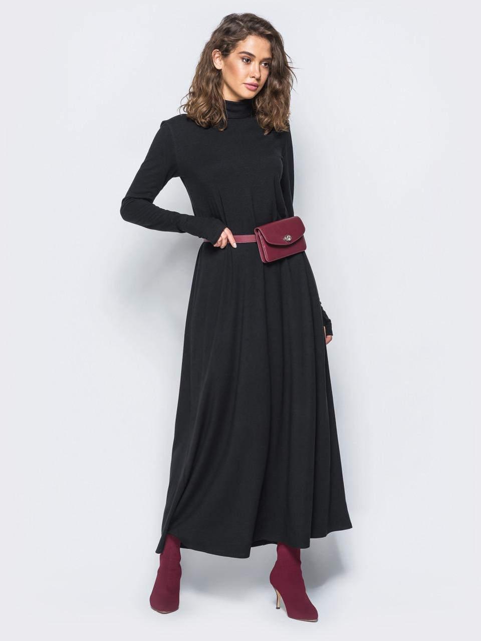 26959251bf6 Теплое женское черное макси-платье приталенного кроя р.44-46