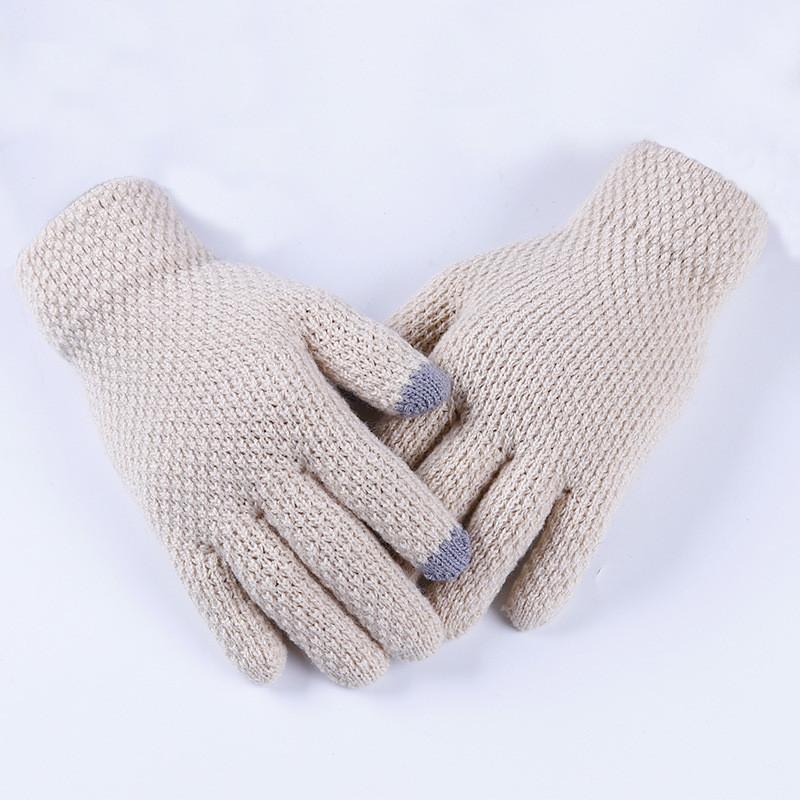 Перчатки женские однотонные осень-зима бежевые
