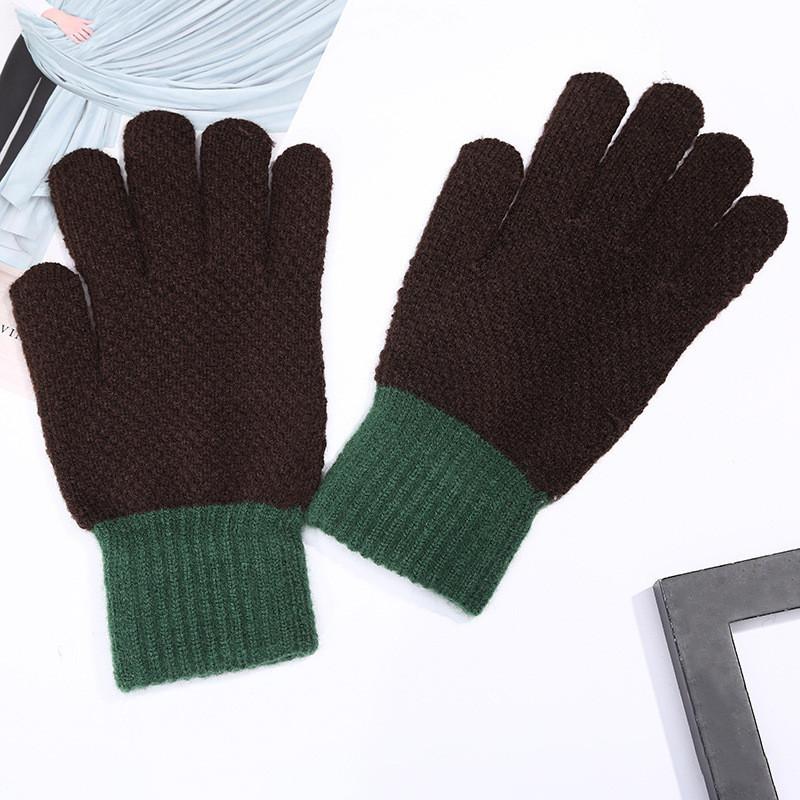 Зимние шерстяные темно-коричневые перчатки для мужчин и женщин унисекс