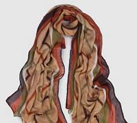 Женский шарф весна/осень коричневый  с геометрическим узором