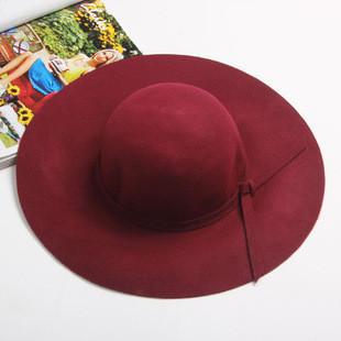 Широкополая женская шляпа бордовая опт