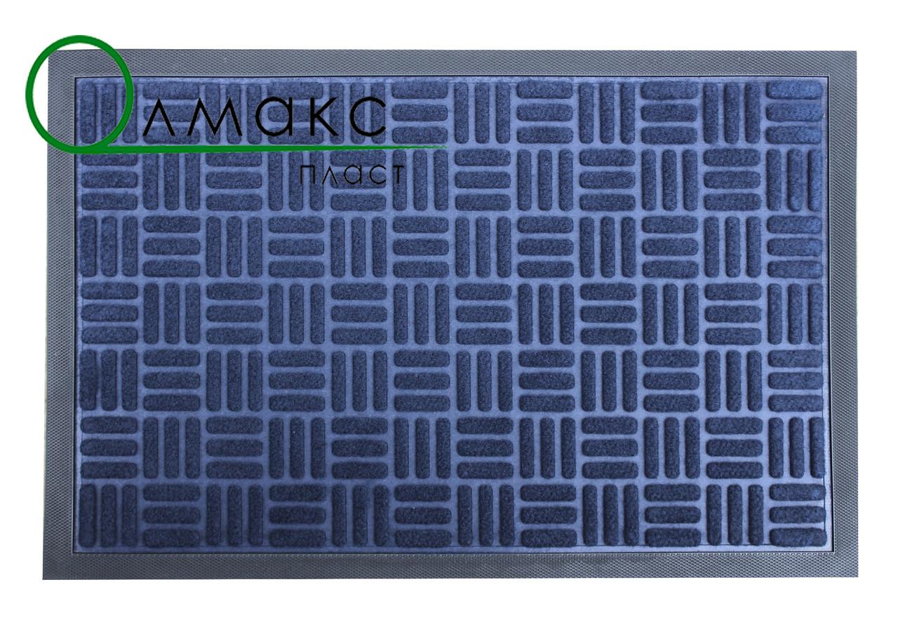 Придверный коврик 40*60 см Полоски квадратики синий