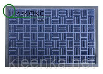 Придверный коврик 40*60 см Полоски квадратики синий, фото 2