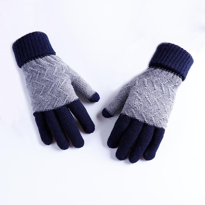 Зимние шерстяные синие перчатки мужские опт