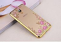 Чехол/Бампер со стразами для Meizu M5 note Золотой (Силиконовый)