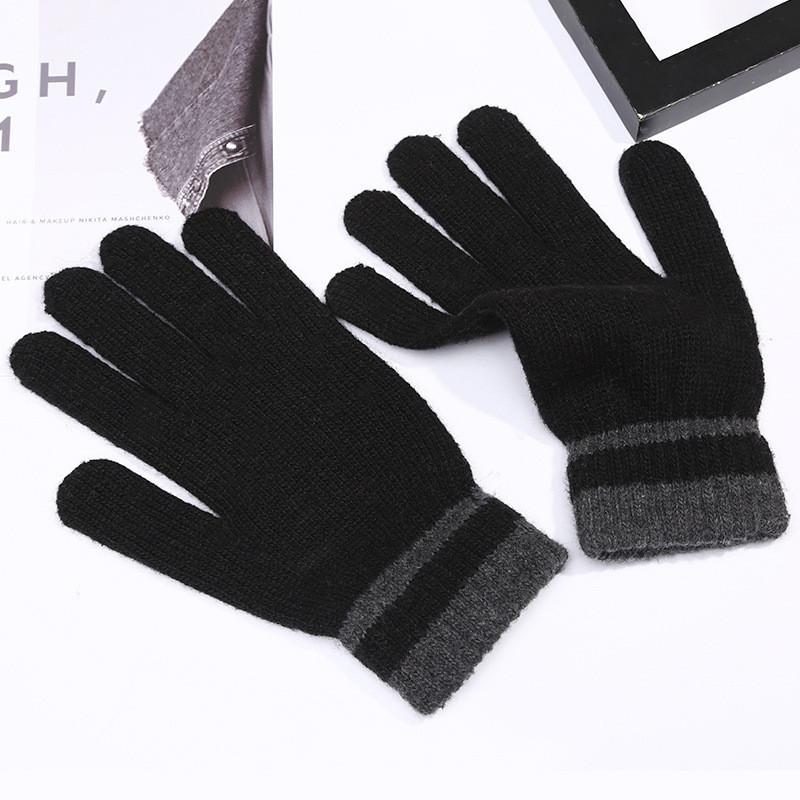 Перчатки весна/осень унисекс с полосками на запястье черные опт