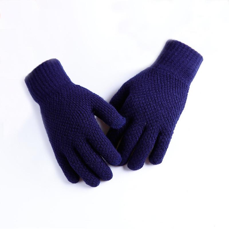 Мужские теплые трикотажные перчатки осень-зима синие опт