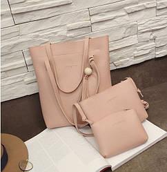 Женская сумка в наборе 3в1 + мини сумочка и клатч розовый