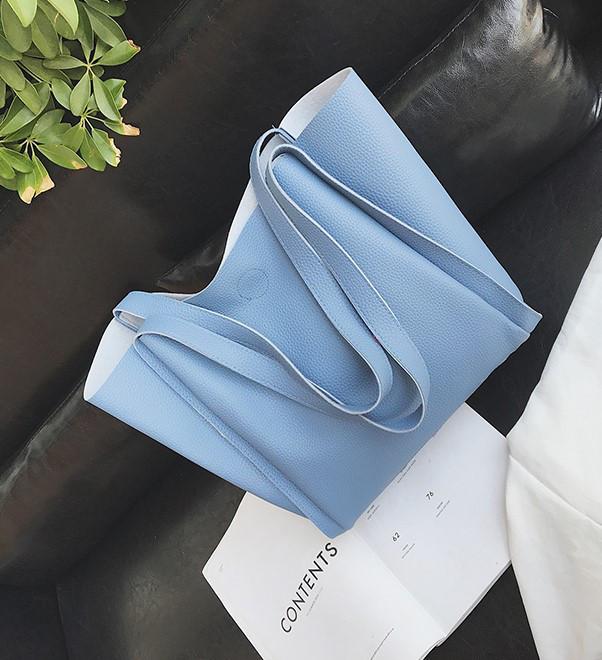 Женская сумка с ручками голубая большая