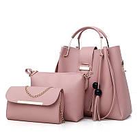 Набор женских сумок 3в1 розовый из качественной экокожи с косточками