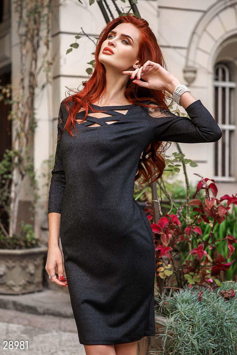 Черное платье миди с напылением