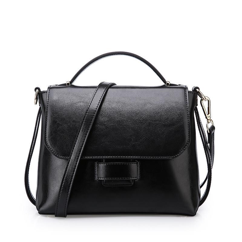 Женская сумка стильная из натуральной кожи черная
