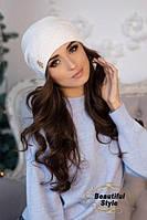 Зимняя женская шапка из шерсти альпаки и мериноса.