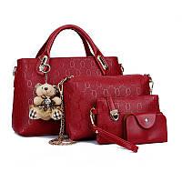 Женская сумка набор 4в1 из экокожи с брелочком красный