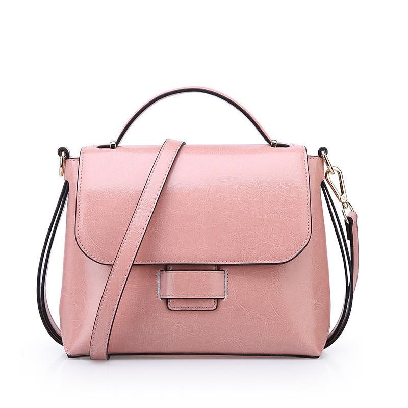 Женская сумка стильная из натуральной кожи розовая