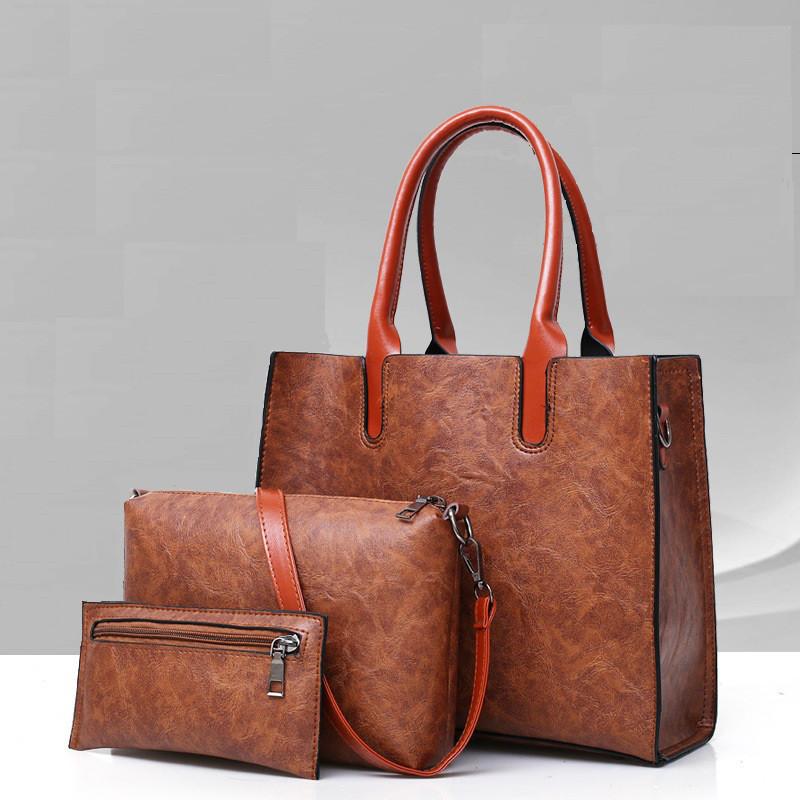 Женская сумка из экокожи набор 3в1 коричневый