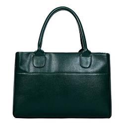 Женская сумка вместительная на молнии зелёная опт