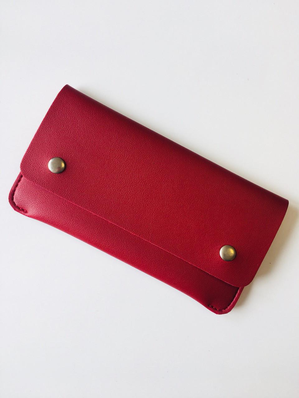 Женский кошелек двойного сложения из экокожи бордовый опт
