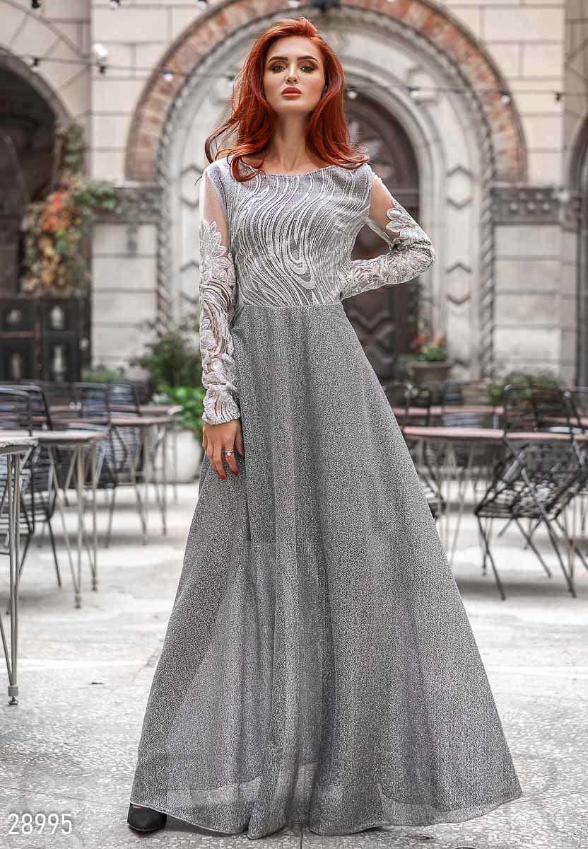 Вечернее платье макси с нитью люрекса
