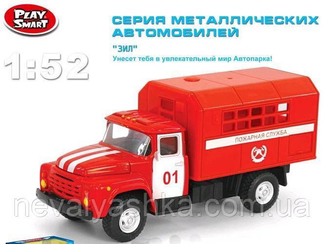 Автопарк Машинка ЗИЛ Пожарная металлический инерционный металл, Play Smart 6519A, 002058