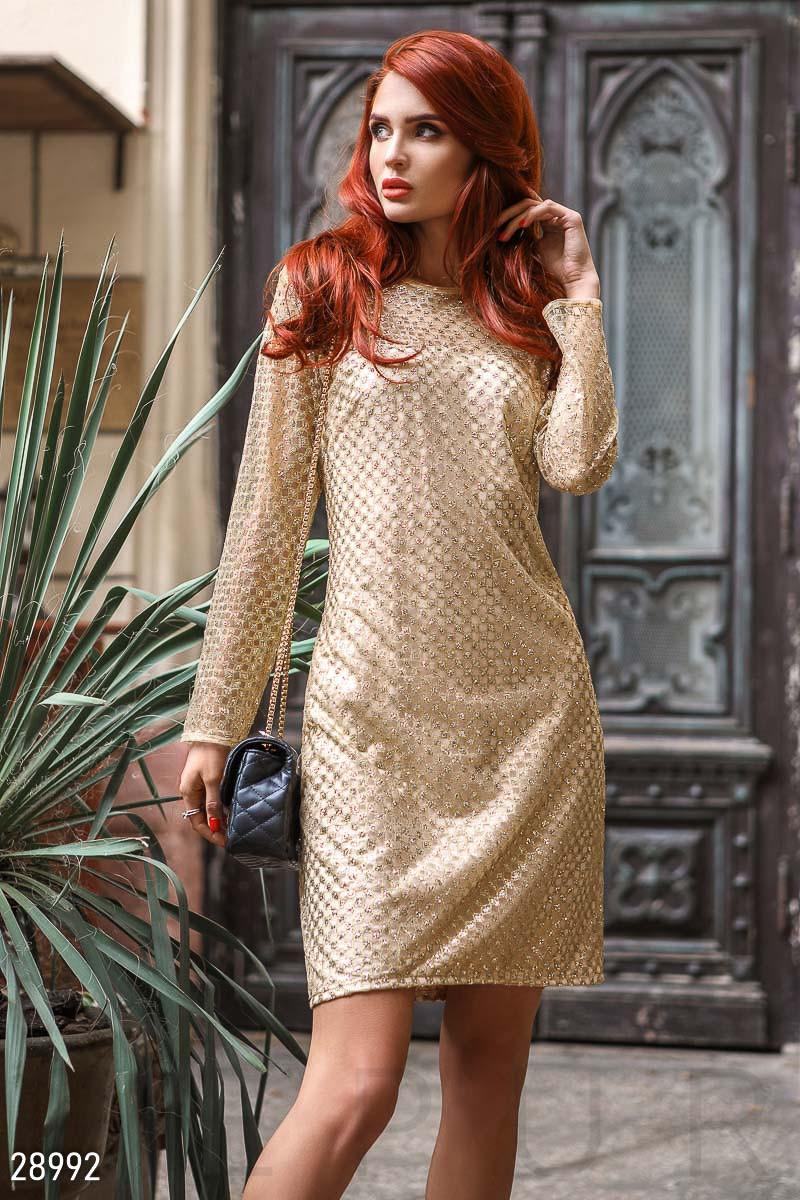 25f0b59a868 Золотистое платье-сетка с напылением - LeButon в Одессе