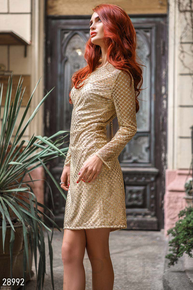 2e60d1a5cbf Золотистое платье-сетка с напылением