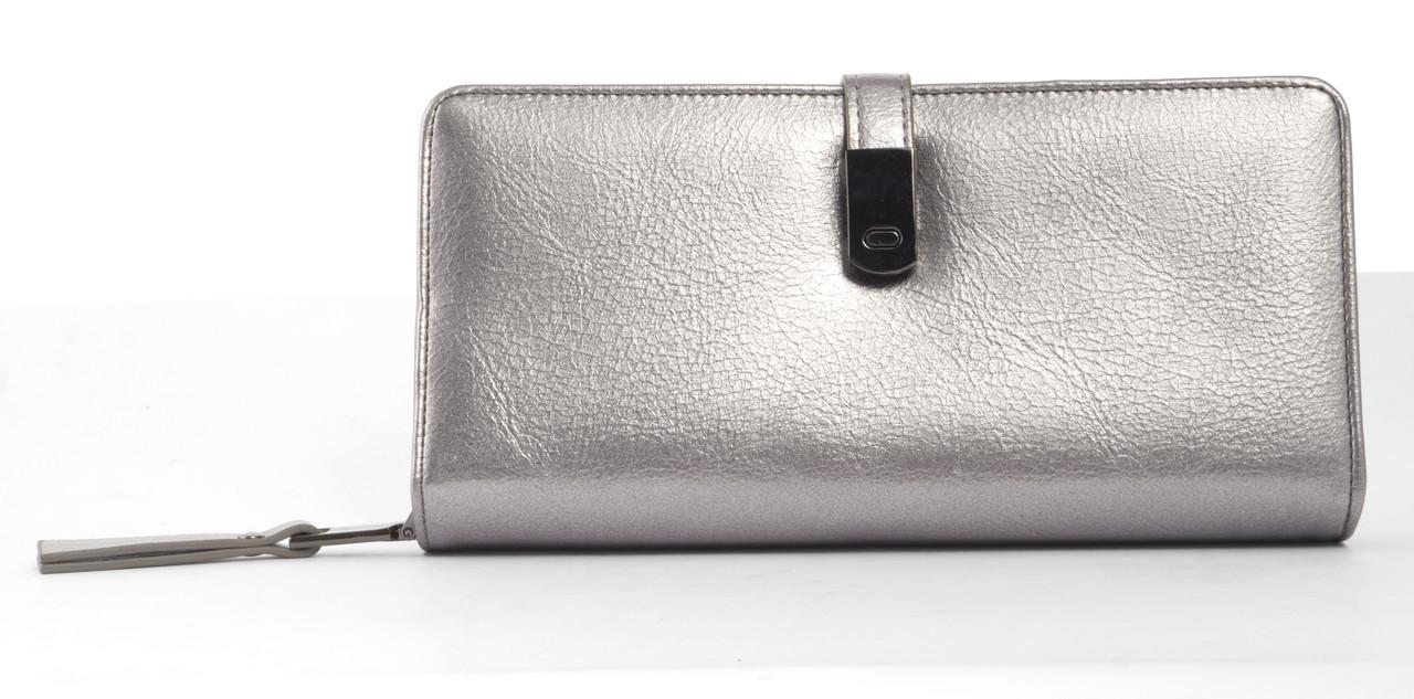 Вместительный женский кошелек барсетка с картхолдеромSaralyn art. CK-1335 серебристый