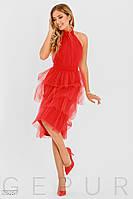 Вечернее красное платье с открытой спиной и пышной юбкой