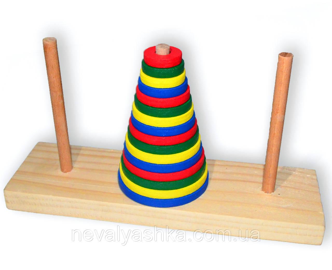 Деревянная игрушка Пирамидка 16 колец Ханойская Башня Неваляшка, M00755, 009878, фото 1