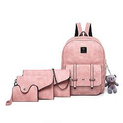 Набор 4в1 рюкзак + клатч, кошелёк и визитница розовый экокожа