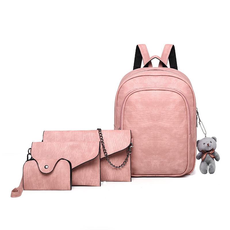 Рюкзак + клатч, кошелёк и визитница набор розовый экокожа