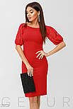 Облегающее красное платье с коротким рукавом фонарик, фото 2