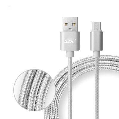 SDL Микро USB 2 в 1 Плетеный кабель для зарядки и передачи данных - 1м - Серый, фото 2