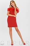 Красное платье-трапеция с фатиновыми оборками, фото 2
